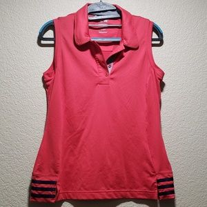 Adidas clima-cool sleeveless red and blue golf top
